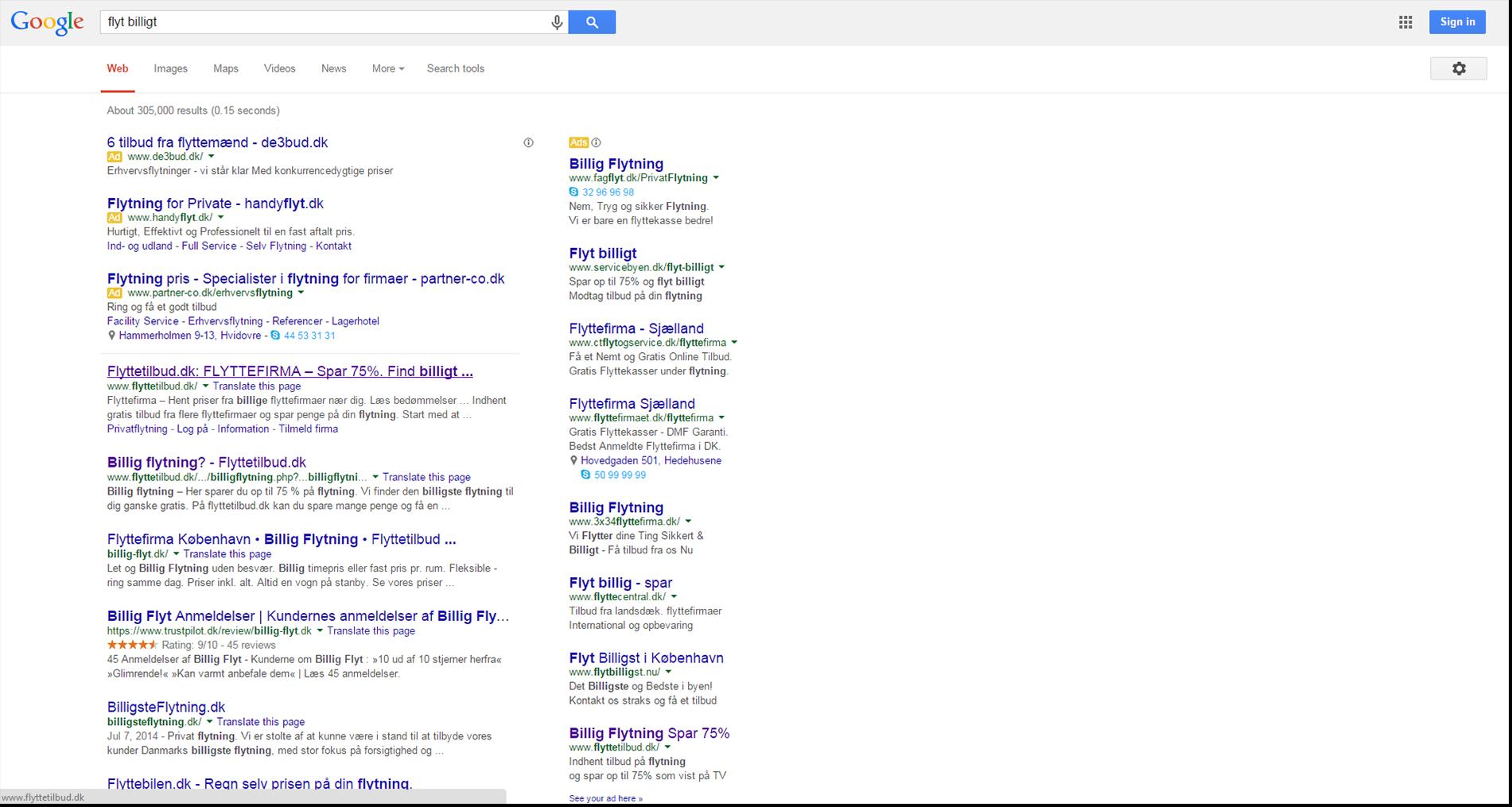 Flyttetilbud, google search